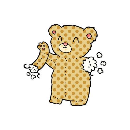 cartoon teddy bear with torn arm