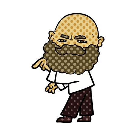 Cartoon man with beard frowning and pointing Illustration