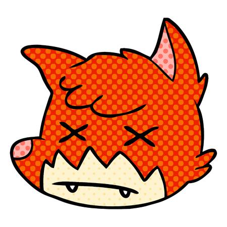 漫画の死んだキツネの顔