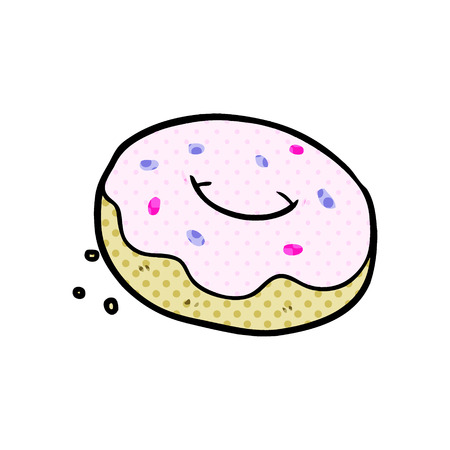 Cartoon donut with sprinkles