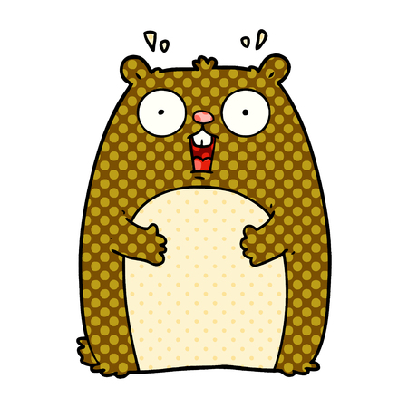 cartoon shocked ground hog Illustration