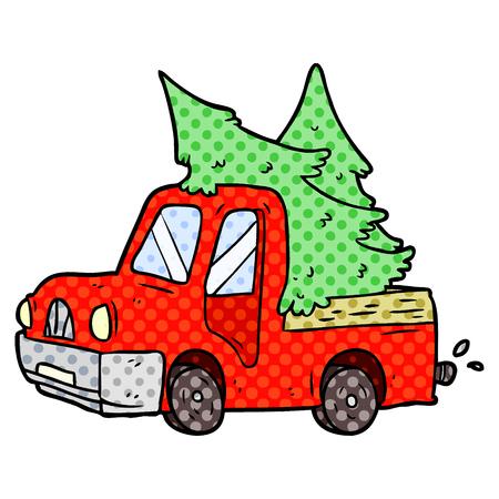 cartoon pickup truck carrying christmas trees
