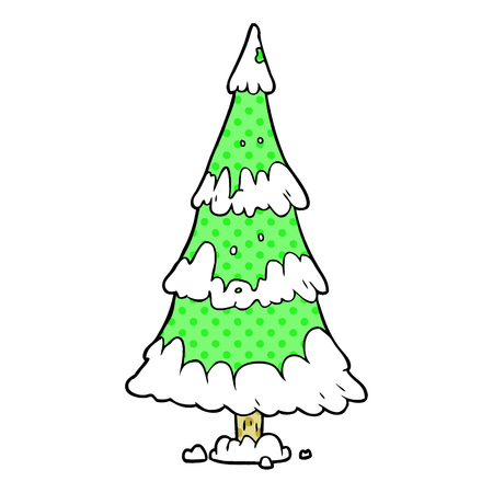 cartoon snowy christmas tree Vettoriali