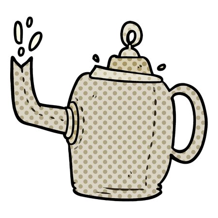 cartoon old metal kettle Stock Illustratie
