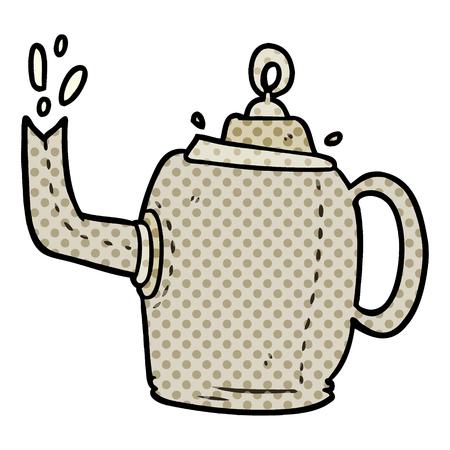 cartoon old metal kettle Illustration