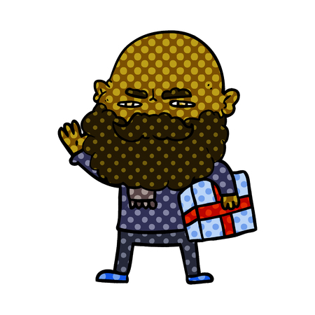 Cartoon man with beard frowning with xmas gift