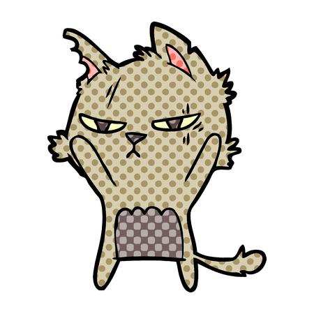 tough cartoon cat 向量圖像