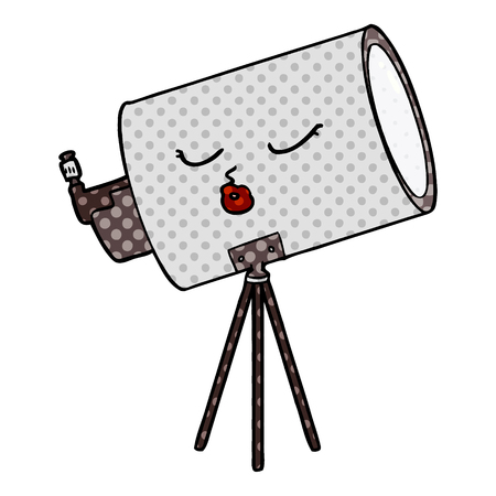 Cartoon telescope with face Illustration