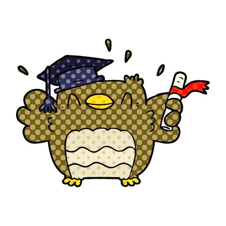 Cartoon owl graduate Illustration