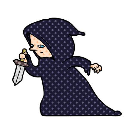 어두운 가운에 만화 암살자 스톡 콘텐츠 - 95639636