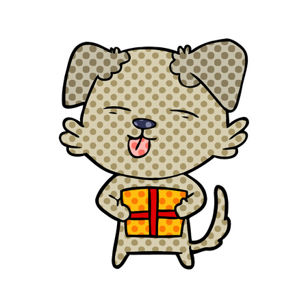 Cartoon dog with Christmas present illustration on white background.