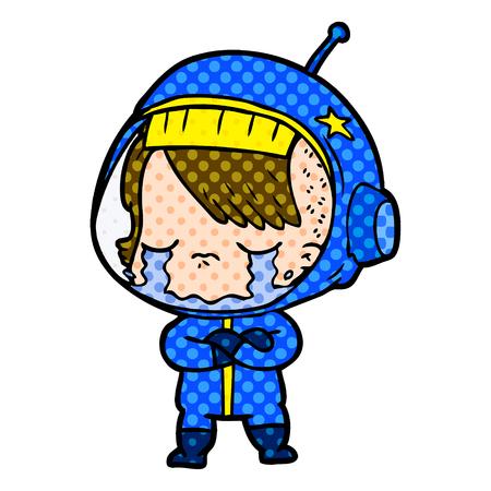 Cartoon crying astronaut girl