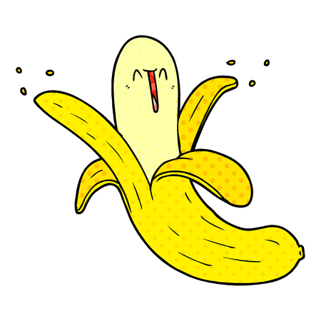 Cartoon crazy happy banana