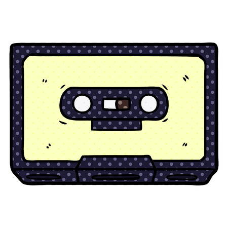 cartoon old cassette tape 向量圖像