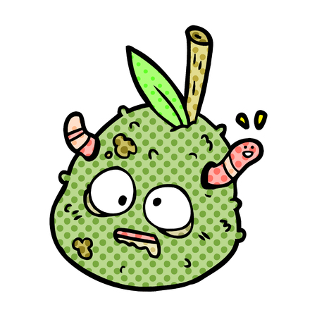 cartoon rotting old pear with worm Illustration