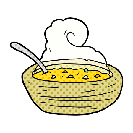 cartoon hot bowl of broth Ilustração