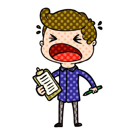 Cartoon shouting salesman Ilustração
