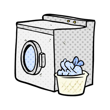 cartoon washing machine and laundry 免版税图像 - 95639823