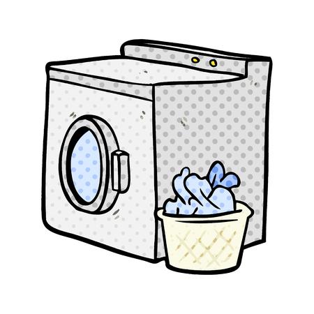 cartoon washing machine and laundry Stock Illustratie