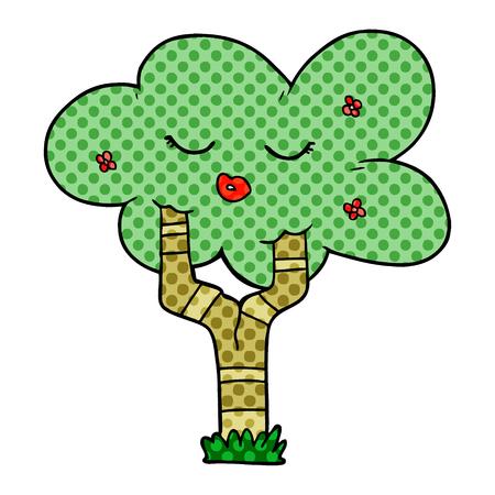 cartoon tree with face Illustration