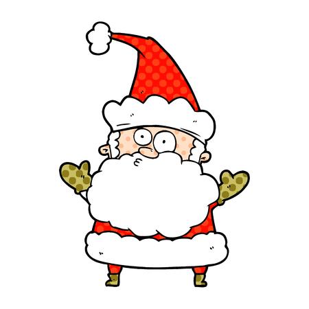 cartoon confused santa claus shurgging shoulders
