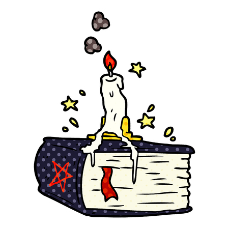 cartoon spooky spellbook with dribbling candle Illustration