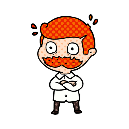 cartoon man with mustache shocked Stock Illustratie