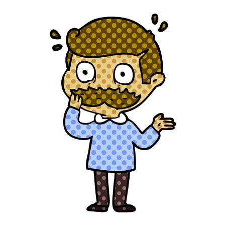 cartoon man with mustache shocked Illustration