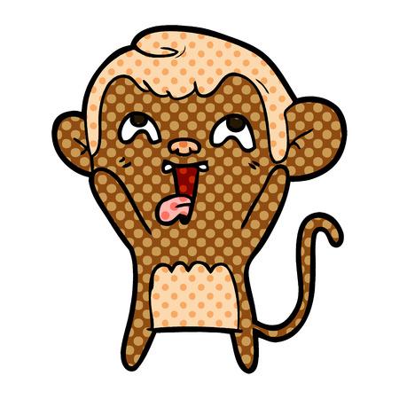 Crazy cartoon monkey illustration on white background.
