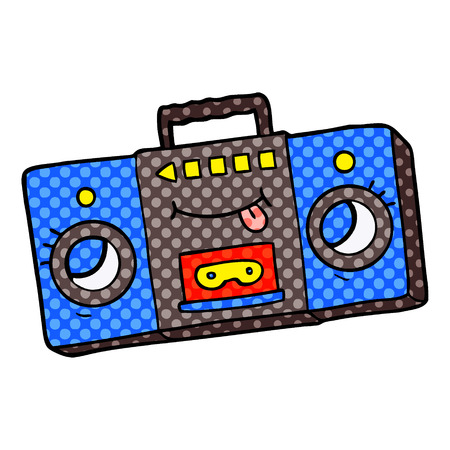 Cartoon retro cassette tape player illustration on white background. 일러스트