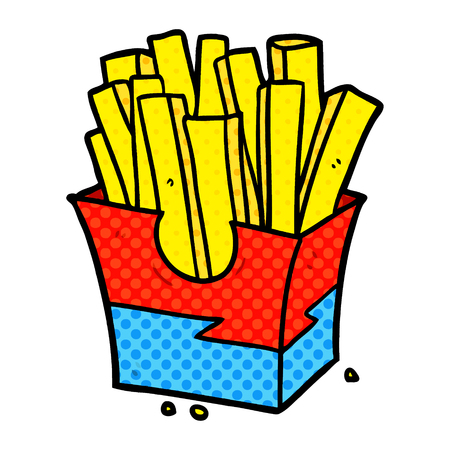 A cartoon junk food fries isolated on white background Stock Illustratie
