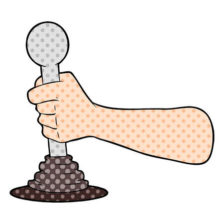 Een cartoon hand trekken hendel geïsoleerd op een witte achtergrond
