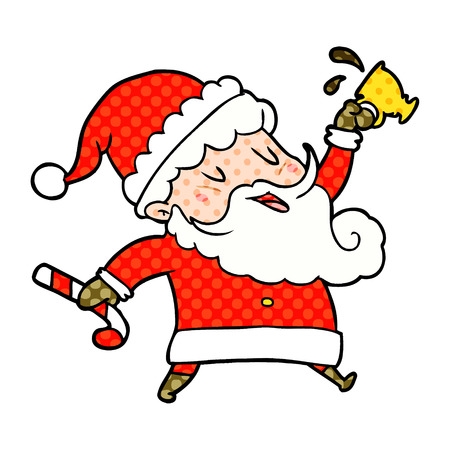 A cartoon Santa Claus with hot cocoa isolated on white background Standard-Bild - 95653556