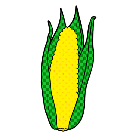 A cartoon organic corn isolated on white background Ilustração