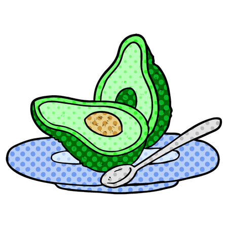 A cartoon halved avocado isolated on white background
