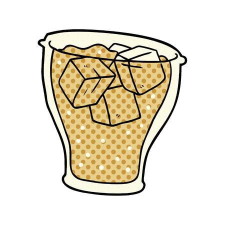 白い背景に隔離された氷を持つコーラの漫画グラス  イラスト・ベクター素材