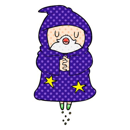 cartoon floating wizard Ilustração