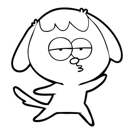 A cartoon bored dog isolated on white background