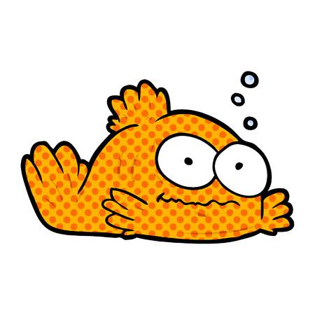 funny cartoon goldfish isolated on white background