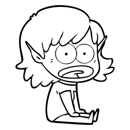 A cartoon shocked elf girl isolated on white background