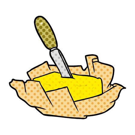 白い背景に隔離されたナイフを持つバターの漫画の伝統的なパット