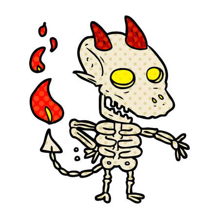 A cartoon spooky skeleton demon isolated on white background