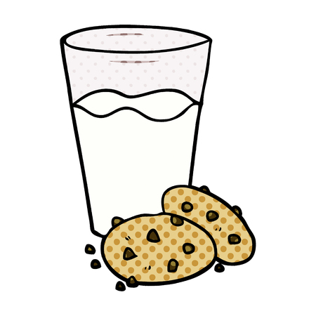 A cartoon cookies and milk isolated on white background
