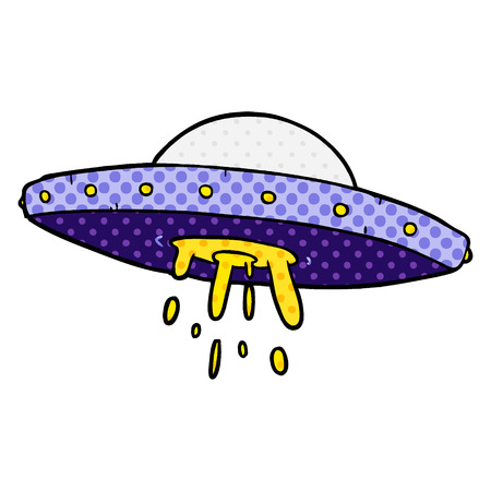 A cartoon flying UFO isolated on white background Illustration