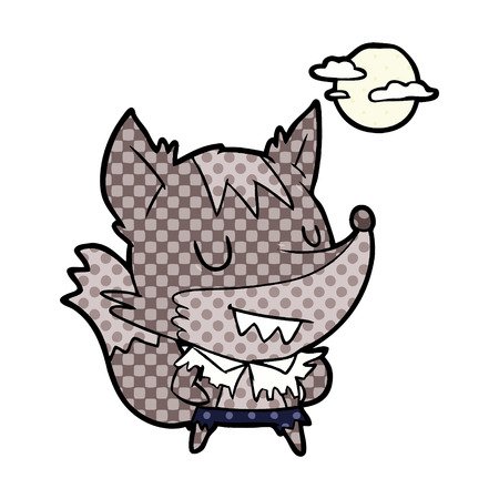 cartoon halloween werewolf Çizim