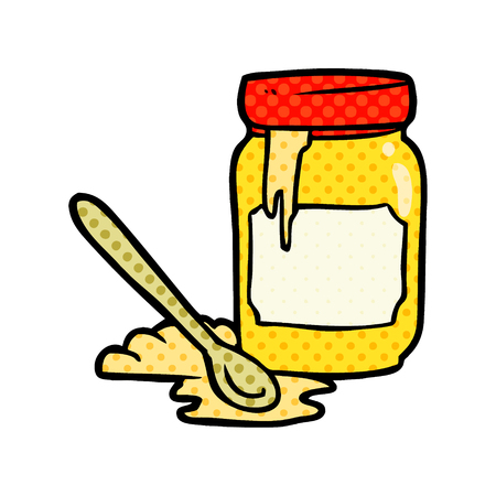 cartoon jar of honey 일러스트