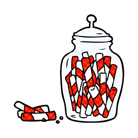 cartoon traditional candy sticks in jar