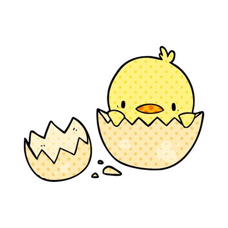 A cute cartoon chick hatching from egg isolated on white background Illustration