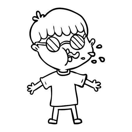 A cartoon boy wearing spectacles isolated on white background Illustration