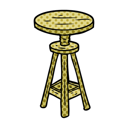 A cartoon adjustable artist stool isolated on white background